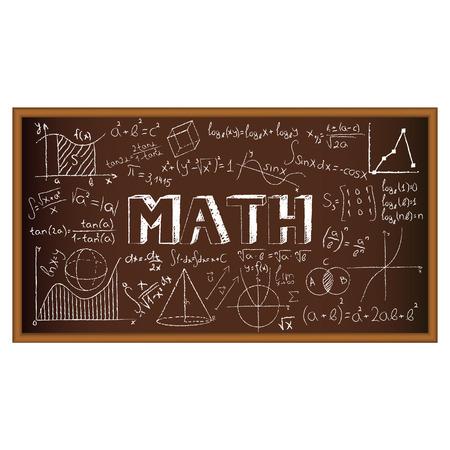 simbolos matematicos: Doodle del consejo escolar con fórmulas y gráficos en matemáticas. Ilustración del vector. Conjunto de educación y aprendizaje garabatos con objetos de la escuela.