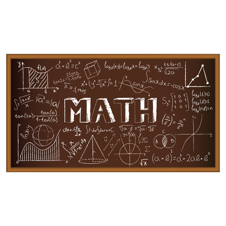 graph theory: School board doodle with formulas and graphs on math. Vector illustration. Set of education and learning doodles with school objects. Illustration