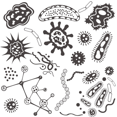 virus bacteria: Bacteria, microorganism and virus cells isolated on white background. White and black vector Illustration. Illustration