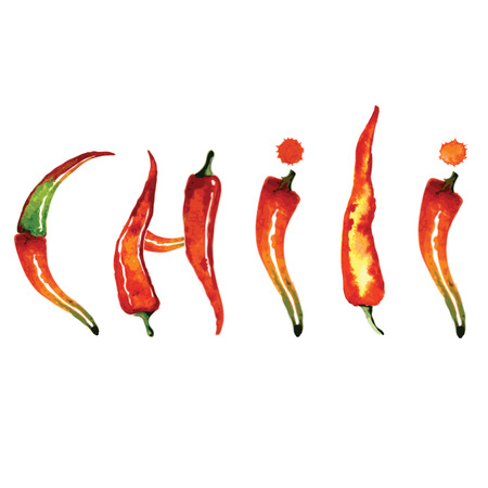 peper: Red chili pepper isolated on white background. Healthy organic food. Vintage hand drawing vector illustration.