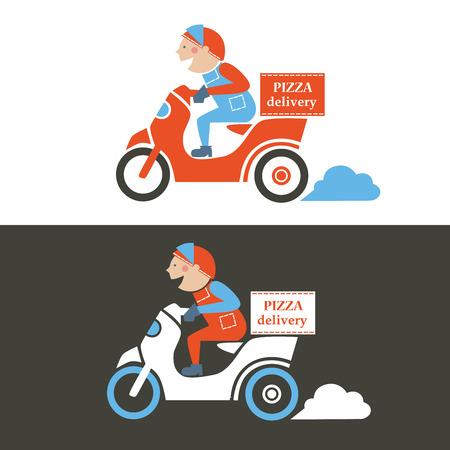Repartidor de pizza en un scooter. Ilustración vectorial aislado.