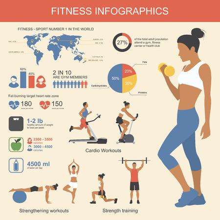 fitness: Infografías Gimnasio elementos. Ilustración vectorial de estilo de vida saludable en el estilo plano.