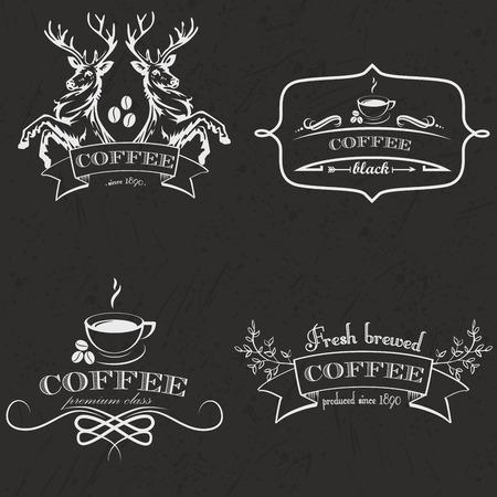 animal logo: Set of vintage retro coffee logo badges and labels. Vector Illustration.