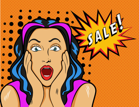 sales person: Woman with Sale sign. Vector Illustration in pop art style. Illustration