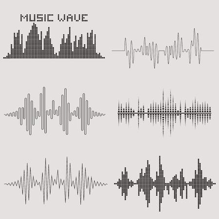vague: Les ondes sonores fix�es. Vagues de musique ic�nes. La technologie de l'�galiseur audio. Vector illustration. Illustration