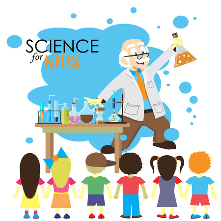 preschool classroom: Science for kids. Cartoon scientist shows to kids chemistry experiment in laboratory. Vector Illustration.