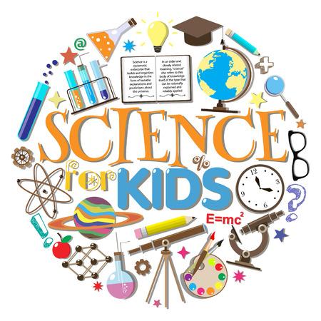 atomo: Ciencia para niños. Símbolos de la escuela y elementos de diseño aislados sobre fondo blanco. Ilustración del vector. Vectores