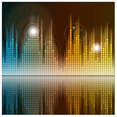 radio dj: Sound waves and music background. Audio equalizer technology. Vector illustration.