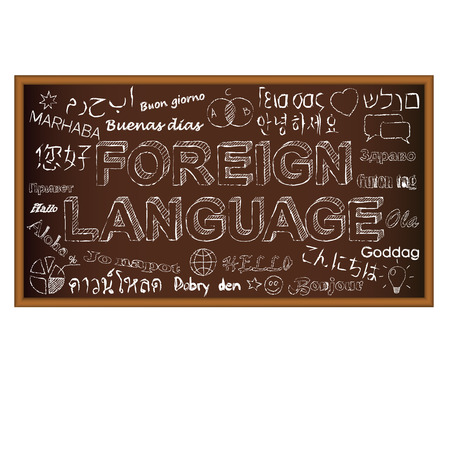 foreign: Chalk board doodle with symbols on foreign languages. Vector illustration. Set of education and learning doodles.