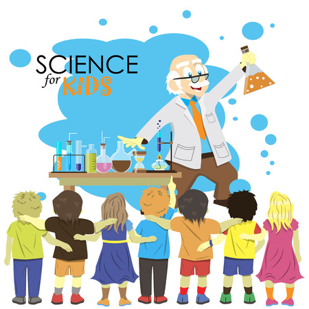 science class: Science for kids. Cartoon scientist shows to kids chemistry experiment in laboratory. Vector Illustration.