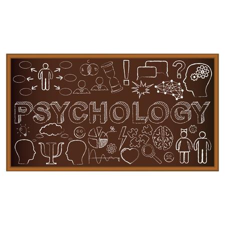 psicologia: Tiza doodle del tablero con símbolos en la psicología. Ilustración del vector. Conjunto de los doodles de educación y aprendizaje.