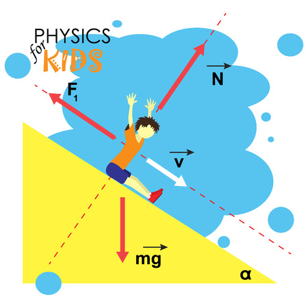 friction: Science for kids. Cartoon kid is studying physics. Vector Illustration. Illustration