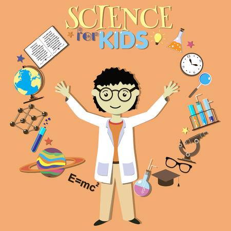 cientificos: Ciencia para ni�os. Cient�fico de dibujos animados, colecci�n de s�mbolos de la ciencia y elementos de dise�o. Ilustraci�n del vector.