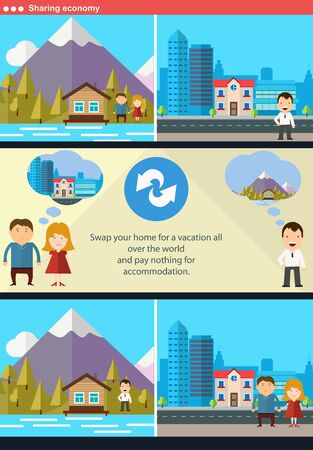 house exchange: Sharing economy and smart consumption concept. Vector illustration in flat style.