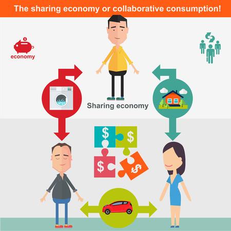 economía: Compartiendo econom�a y concepto de consumo inteligente. Ilustraci�n del vector en estilo plano.