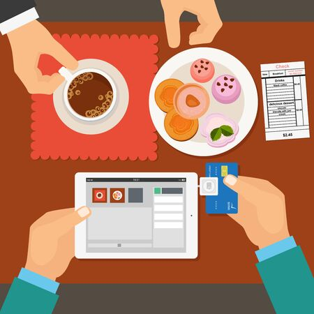 using tablet: Mobile payment in restaurant using tablet. Vector illustration in flat style.