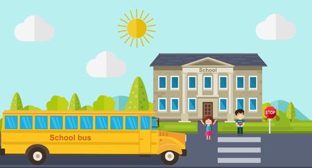 Kids go back to school. Bus, children and school facade composition. Vector illustration.