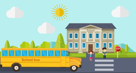 Kids go back to school. Bus, children and school facade composition. Vector illustration.