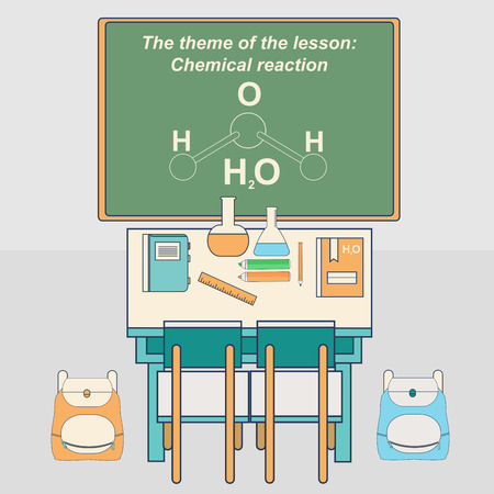 chemistry class: Classroom in school with desk and chalkboard. Chemistry class. Vector illustration in flat style.