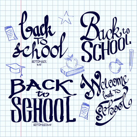 exercise book: Back to school lettering and calligraphic on a sheet of exercise book. Vector illustration. Illustration
