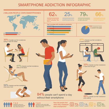 pareja comiendo: Smartphone y Adicción a Internet Infografía. Ilustración vectorial con elementos de diseño.