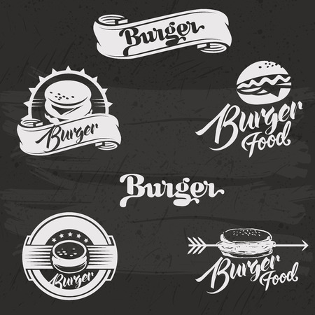 beef burger: Burgers  set in vintage style. Vector Illustration with lettering. Retro hand drawn burger  collection.