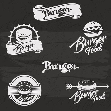 hamburguesa: Hamburguesas fijan en el estilo vintage. Ilustraci�n vectorial con letras. Mano retro dibujado colecci�n hamburguesa. Vectores