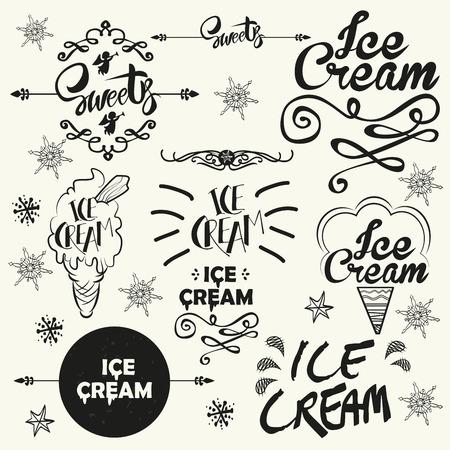 cream paper: Set of vintage ice cream shop logo badges and labels. Typographics vector illustration.