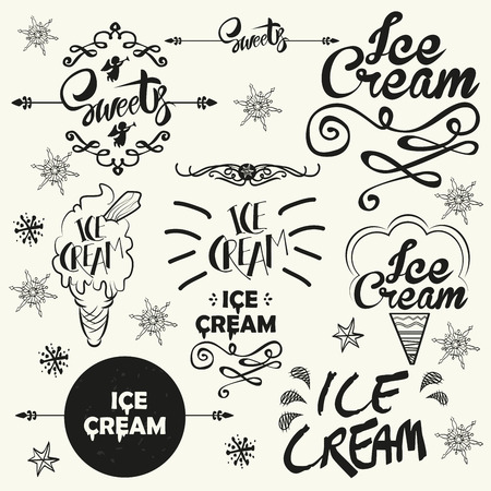 Set of vintage ice cream shop logo badges and labels. Typographics vector illustration.