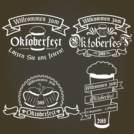 seal stamp: Vector set of oktoberfest labels, design elements, emblems and badges. Isolated logo illustration in vintage style. German language. Illustration