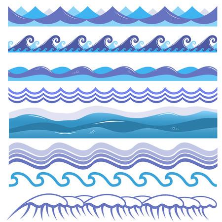 Ilustración de vector de las olas del mar y el mar, surf y salpicaduras. Elementos de diseño aislado sobre fondo blanco. Patrones marinos azules.