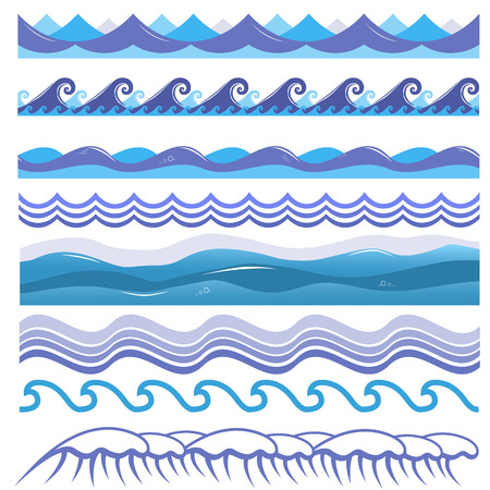 wave design: Vector illustration of ocean and sea waves, surfs and splashes. Seamless isolated design elements on white background. Blue marine patterns.