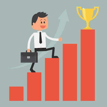 achievement concept: Businessman climbing ladder to success. Goal achievement. Motivation and goal concept to be successful in business and life. Vector illustration in flat design.