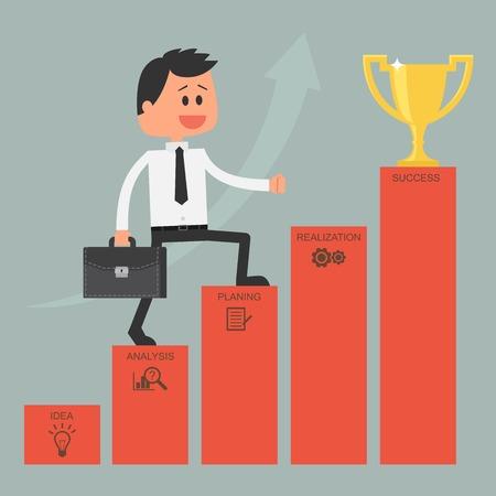 Empresario subiendo por la escalera del éxito. El logro de metas. La motivación y el concepto de meta para tener éxito en los negocios y la vida. Ilustración del vector en diseño plano.