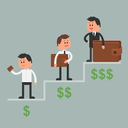 Business concept vector illustratie in vlakke stijl. Investering geld concept. Dollar symbolen en portemonnee. Cartoon zakenman rijk en omhoog