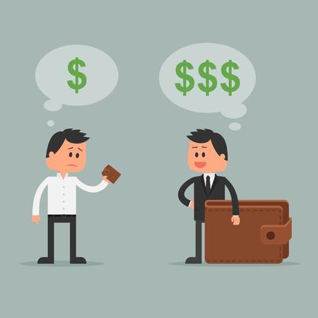 Business concetto illustrazione vettoriale in stile piatto. concetto di investimento di denaro. Simboli del dollaro e portafoglio. Ricchi e poveri d'affari cartone animato.