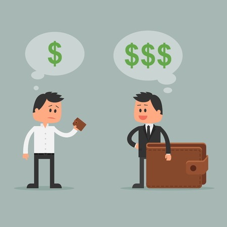 Business concept vector illustration in flat style. Money investment concept. Dollar symbols and wallet. Rich and poor cartoon businessman.