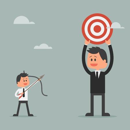 gerente: Hombre se preparan disparar la flecha para apuntar. el logro de metas y el concepto de �xito. Concepto de la motivaci�n para tener �xito en los negocios y la vida. Ilustraci�n del vector en dise�o plano.