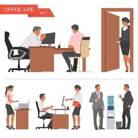staff meeting: Flat design of business people or office workers. People talking and working at the computers. Coffee break near cooler. Vector illustration isolated on white background.