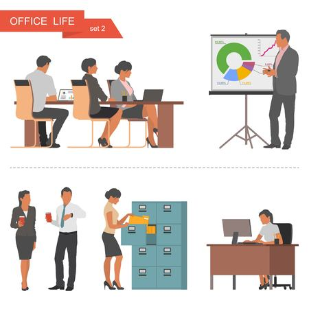 meeting: Flat design of business people or office workers. People talking and working at the computers. Business presentation and meeting. Vector illustration isolated on white background. Illustration