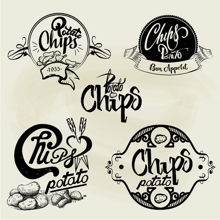 potato: Vector set of potato chips labels, design elements, emblems and badges. Isolated logo illustration in vintage style.