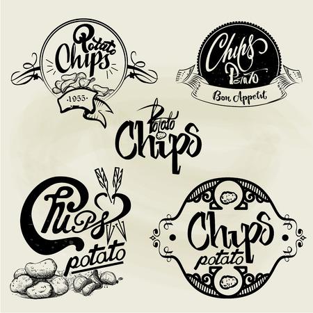 Vector set of potato chips labels, design elements, emblems and badges. Isolated logo illustration in vintage style.