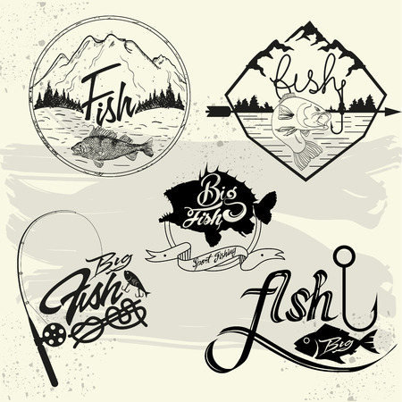 bass: Vector set of fishing club labels, design elements, emblems and badges. Isolated logo illustration in vintage style.