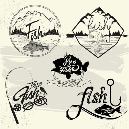Vector set van vissen club labels, design elementen, emblemen en badges. Embleem geïsoleerd illustratie in vintage stijl.