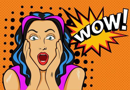Femme avec wow signe. Vector illustration dans le style pop art Banque d'images - 47662453