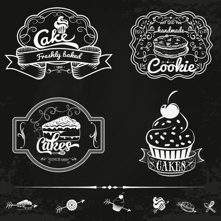 Vector set of bakery and cakes labels, design elements, emblems and badges. Isolated logo illustration in vintage style.