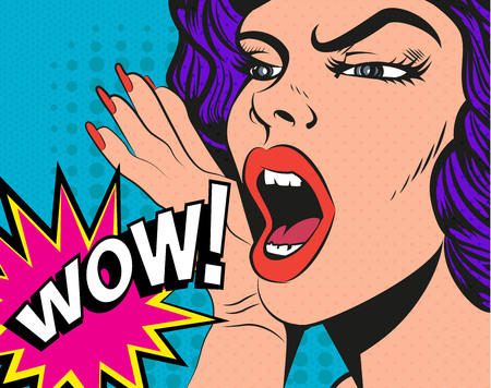pop art: Woman with wow sign. Vector illustration in pop art style