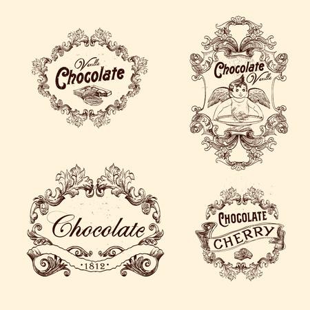 초콜릿 라벨, 디자인 요소, 엠 블 럼 및 배지의 집합입니다. 빈티지 스타일의 고립 된 그림. 일러스트