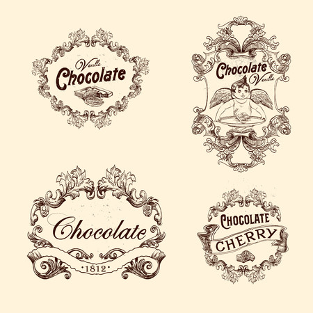chocolate cake: Vector set of chocolate labels, design elements, emblems and badges. Isolated illustration in vintage style.