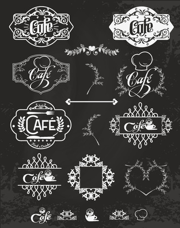 vintage cafe: Vector set of cafe labels, design elements, emblems and badges. Isolated logo illustration in vintage style.
